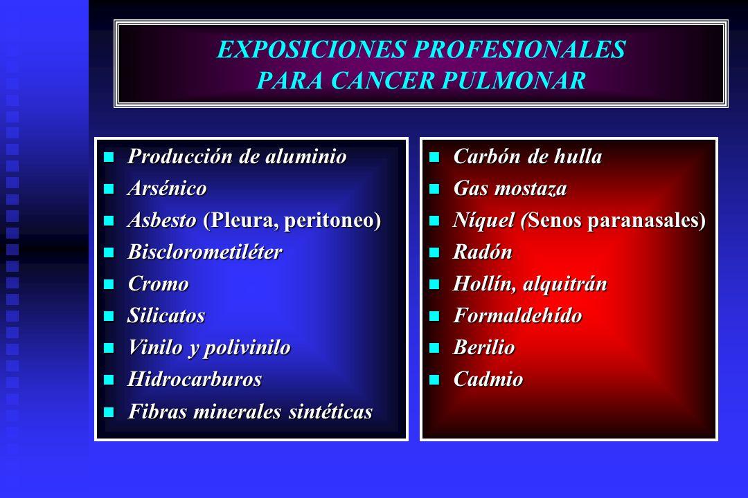 EXPOSICIONES PROFESIONALES PARA CANCER PULMONAR Producción de aluminio Producción de aluminio Arsénico Arsénico Asbesto (Pleura, peritoneo) Asbesto (P