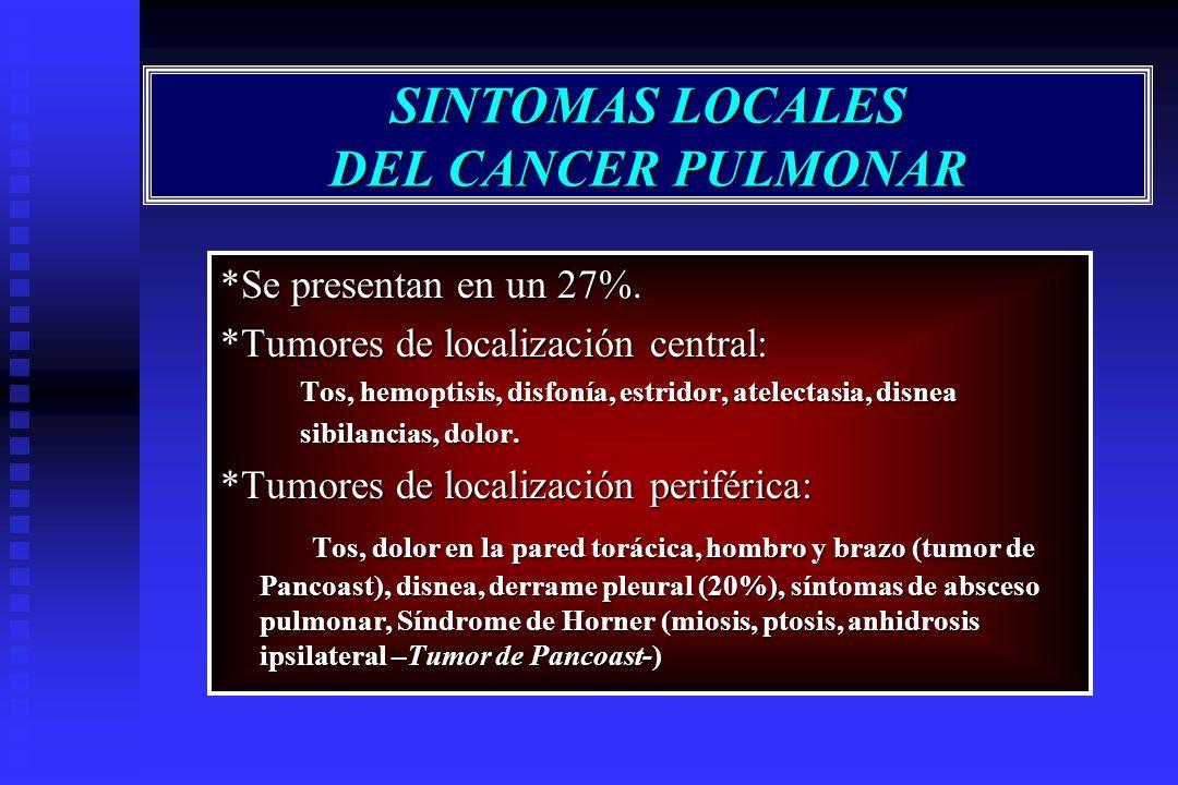 SINTOMAS LOCALES DEL CANCER PULMONAR *Se presentan en un 27%. *Tumores de localización central: Tos, hemoptisis, disfonía, estridor, atelectasia, disn