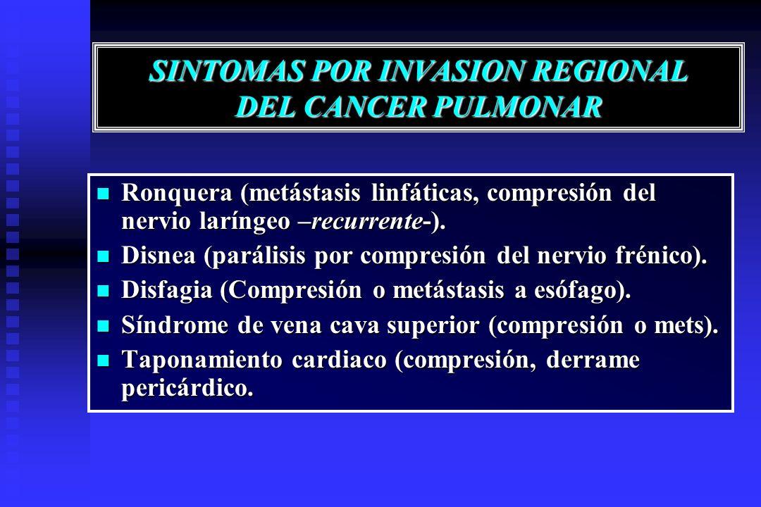 SINTOMAS POR INVASION REGIONAL DEL CANCER PULMONAR Ronquera (metástasis linfáticas, compresión del nervio laríngeo –recurrente-). Ronquera (metástasis