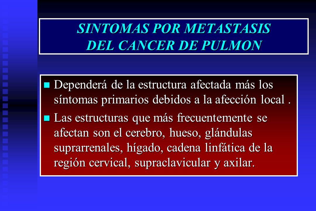 SINTOMAS POR METASTASIS DEL CANCER DE PULMON Dependerá de la estructura afectada más los síntomas primarios debidos a la afección local. Dependerá de