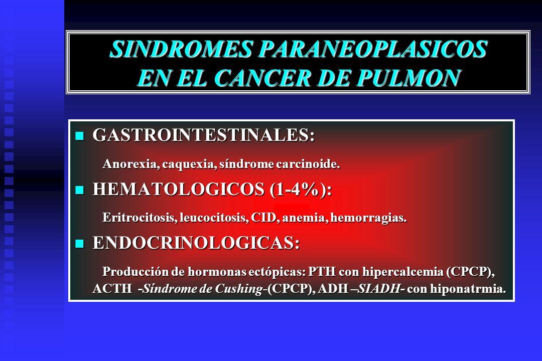 SINDROMES PARANEOPLASICOS EN EL CANCER DE PULMON GASTROINTESTINALES: GASTROINTESTINALES: Anorexia, caquexia, síndrome carcinoide. Anorexia, caquexia,