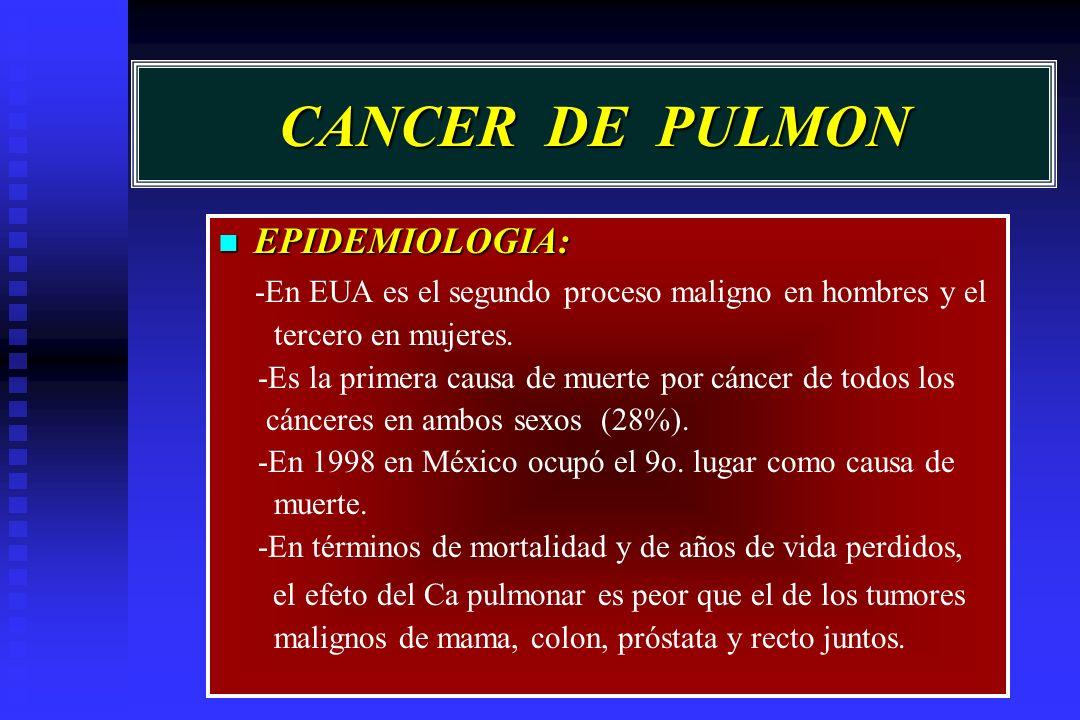CANCER DE PULMON EPIDEMIOLOGIA: EPIDEMIOLOGIA: -En EUA es el segundo proceso maligno en hombres y el tercero en mujeres. -Es la primera causa de muert