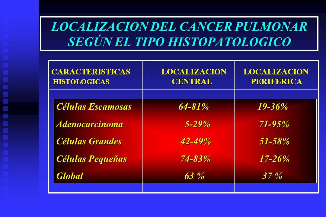 LOCALIZACION DEL CANCER PULMONAR SEGÚN EL TIPO HISTOPATOLOGICO CARACTERISTICAS LOCALIZACION LOCALIZACION HISTOLOGICAS CENTRAL PERIFERICA HISTOLOGICAS