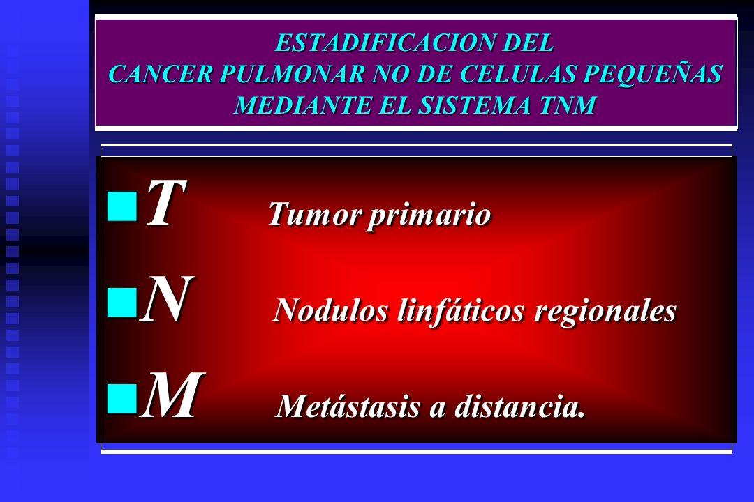 ESTADIFICACION DEL CANCER PULMONAR NO DE CELULAS PEQUEÑAS MEDIANTE EL SISTEMA TNM T Tumor primario T Tumor primario N Nodulos linfáticos regionales N