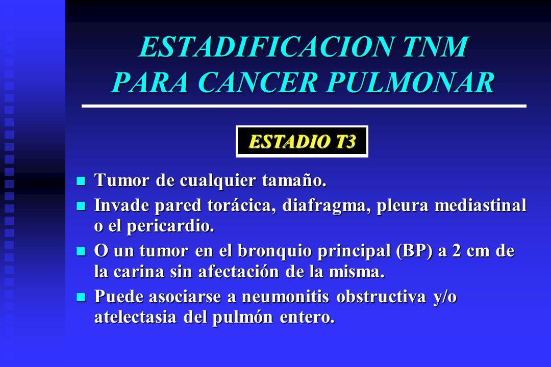 ESTADIFICACION TNM PARA CANCER PULMONAR Tumor de cualquier tamaño. Tumor de cualquier tamaño. Invade pared torácica, diafragma, pleura mediastinal o e