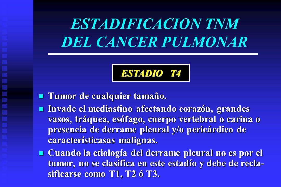 ESTADIFICACION TNM DEL CANCER PULMONAR Tumor de cualquier tamaño. Tumor de cualquier tamaño. Invade el mediastino afectando corazón, grandes vasos, tr