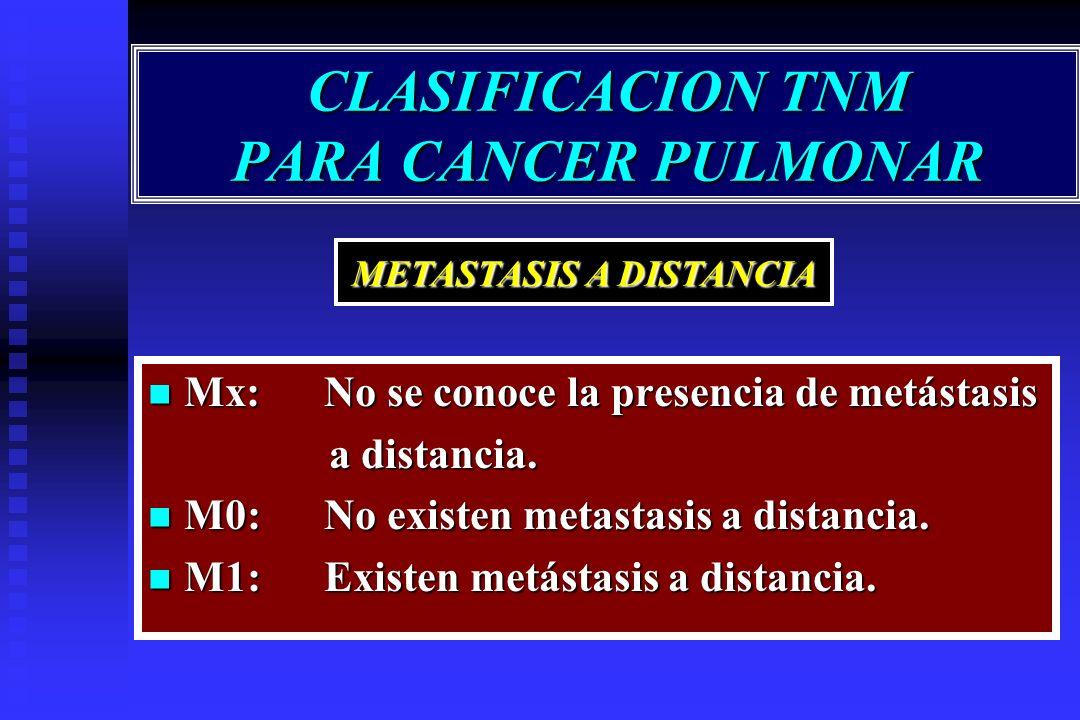 CLASIFICACION TNM PARA CANCER PULMONAR Mx: No se conoce la presencia de metástasis Mx: No se conoce la presencia de metástasis a distancia. a distanci