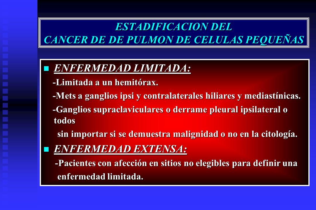 ESTADIFICACION DEL CANCER DE DE PULMON DE CELULAS PEQUEÑAS ENFERMEDAD LIMITADA: ENFERMEDAD LIMITADA: -Limitada a un hemitórax. -Limitada a un hemitóra