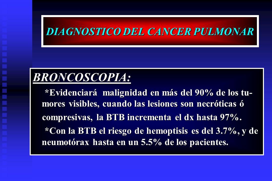DIAGNOSTICO DEL CANCER PULMONAR BRONCOSCOPIA: *Evidenciará malignidad en más del 90% de los tu- mores visibles, cuando las lesiones son necróticas ó *