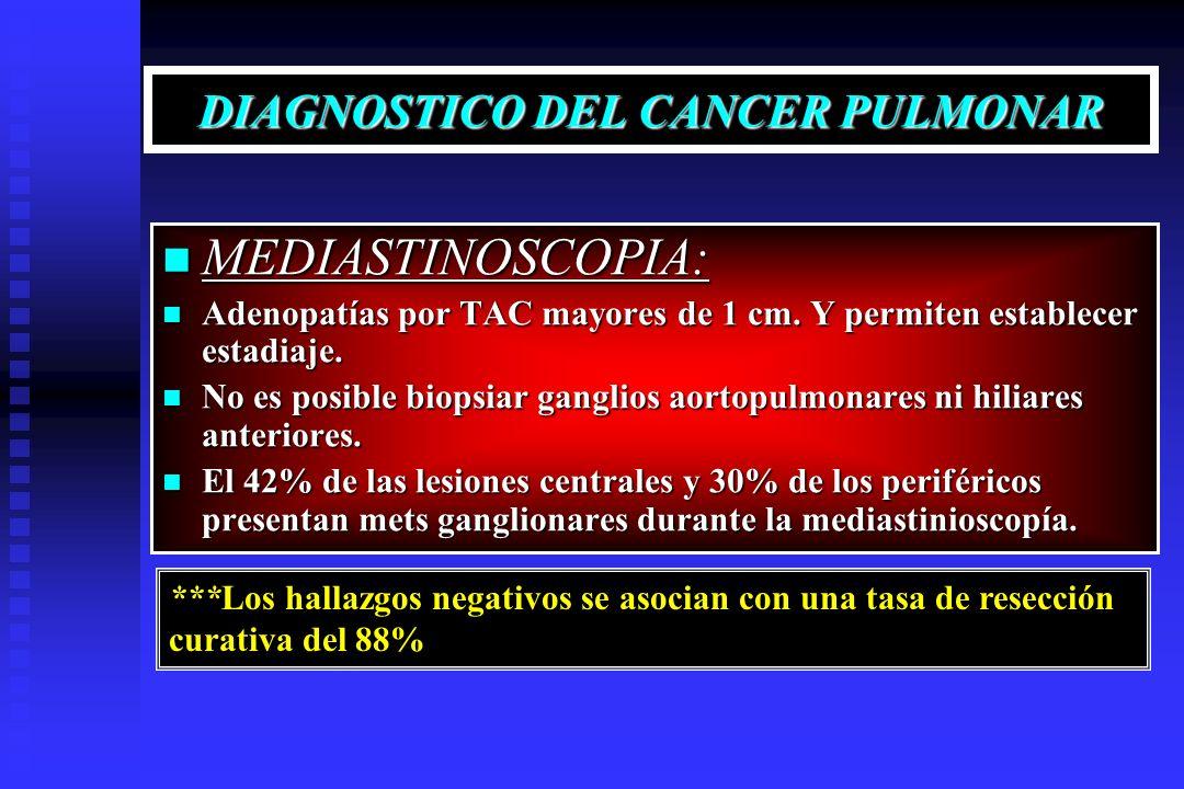 DIAGNOSTICO DEL CANCER PULMONAR MEDIASTINOSCOPIA: MEDIASTINOSCOPIA: Adenopatías por TAC mayores de 1 cm. Y permiten establecer estadiaje. Adenopatías
