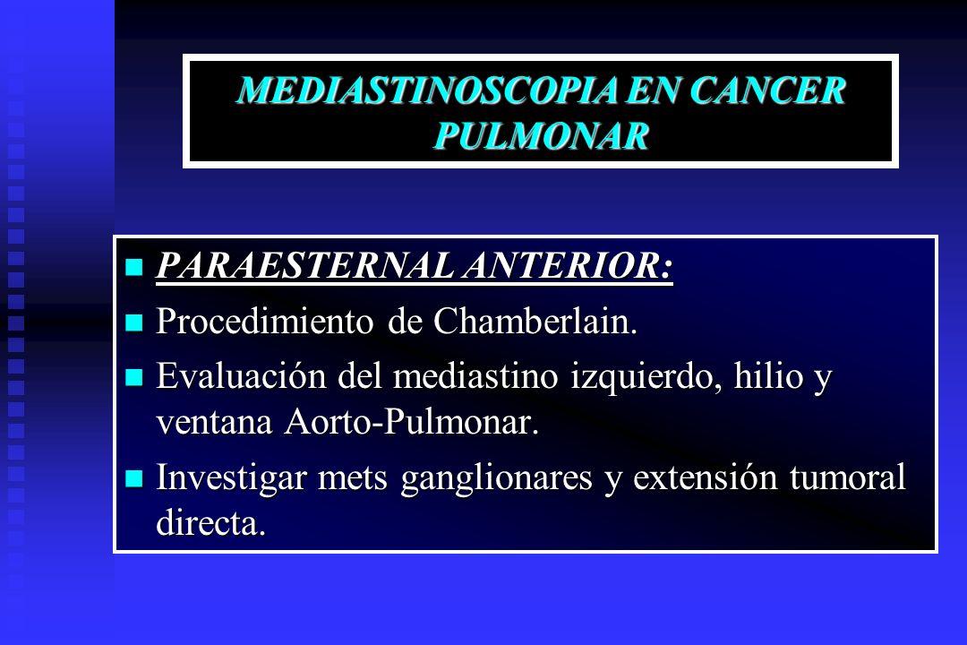 MEDIASTINOSCOPIA EN CANCER PULMONAR PARAESTERNAL ANTERIOR: PARAESTERNAL ANTERIOR: Procedimiento de Chamberlain. Procedimiento de Chamberlain. Evaluaci
