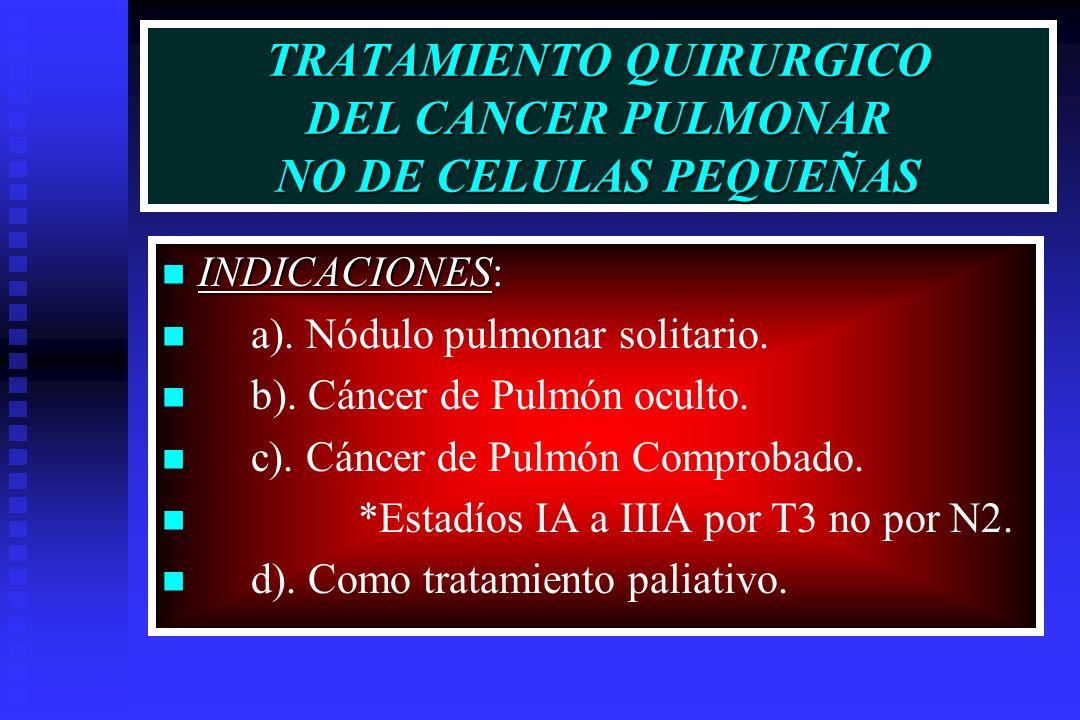 TRATAMIENTO QUIRURGICO DEL CANCER PULMONAR NO DE CELULAS PEQUEÑAS INDICACIONES: INDICACIONES: a). Nódulo pulmonar solitario. b). Cáncer de Pulmón ocul