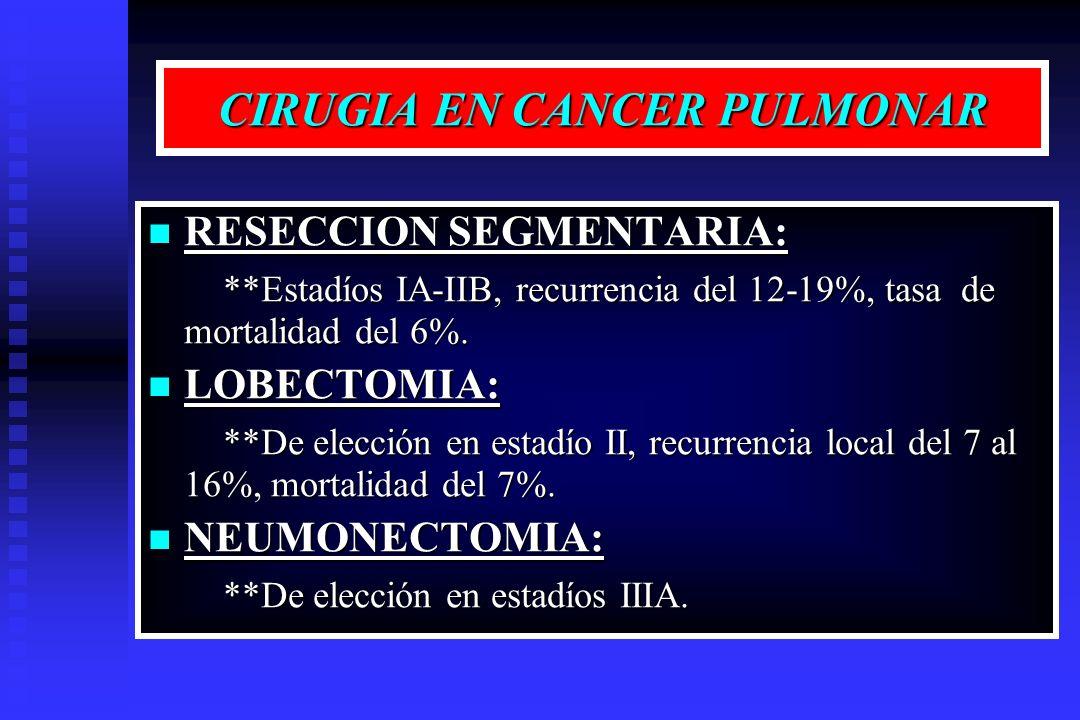 CIRUGIA EN CANCER PULMONAR RESECCION SEGMENTARIA: RESECCION SEGMENTARIA: **Estadíos IA-IIB, recurrencia del 12-19%, tasa de mortalidad del 6%. **Estad