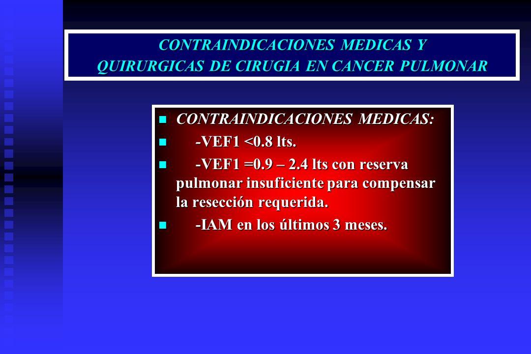 CONTRAINDICACIONES MEDICAS Y QUIRURGICAS DE CIRUGIA EN CANCER PULMONAR CONTRAINDICACIONES MEDICAS: CONTRAINDICACIONES MEDICAS: -VEF1 <0.8 lts. -VEF1 <