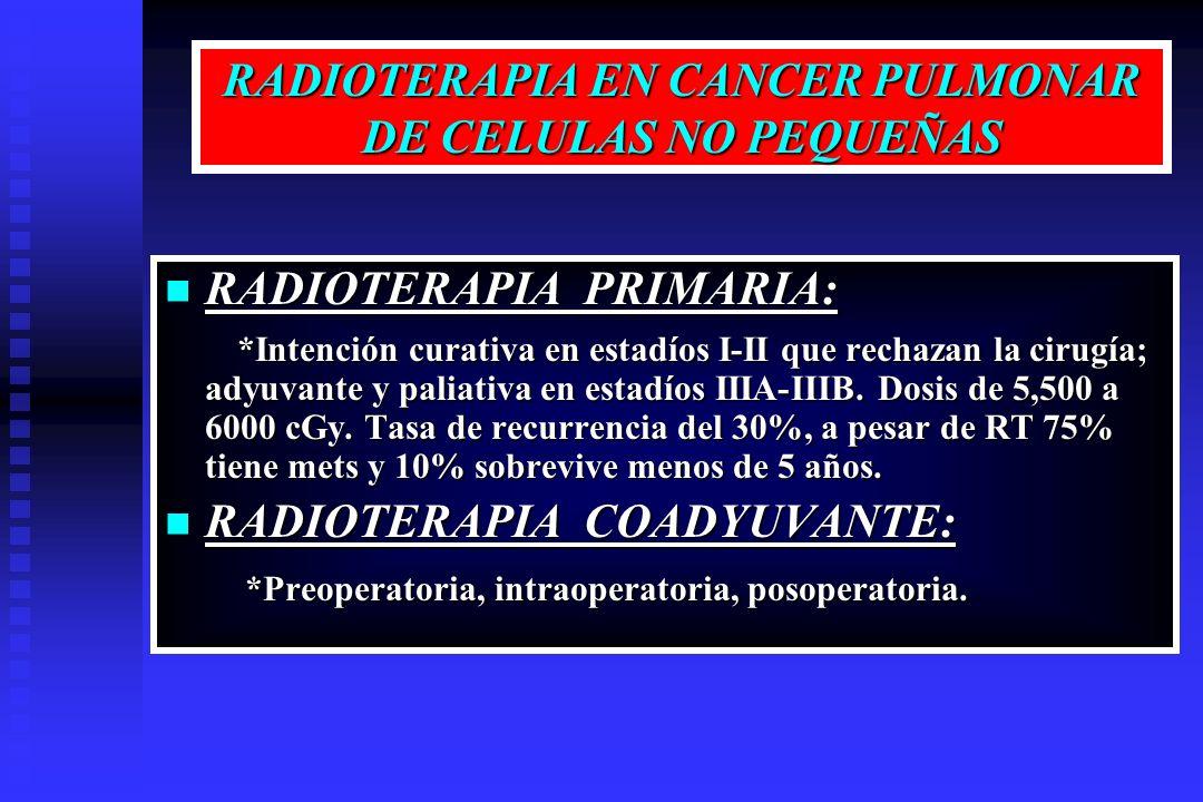 RADIOTERAPIA EN CANCER PULMONAR DE CELULAS NO PEQUEÑAS RADIOTERAPIA PRIMARIA: RADIOTERAPIA PRIMARIA: *Intención curativa en estadíos I-II que rechazan