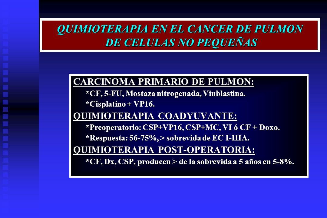 QUIMIOTERAPIA EN EL CANCER DE PULMON DE CELULAS NO PEQUEÑAS CARCINOMA PRIMARIO DE PULMON: *CF, 5-FU, Mostaza nitrogenada, Vinblastina. *CF, 5-FU, Most