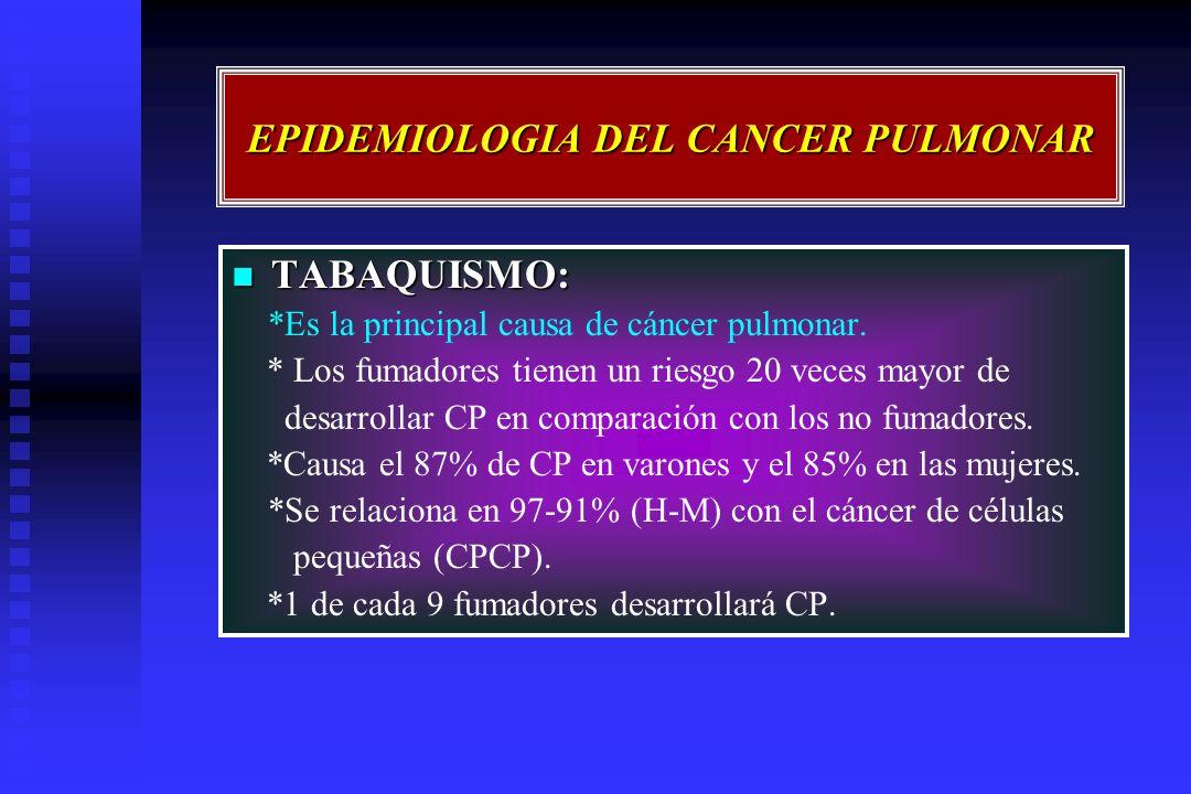 EPIDEMIOLOGIA DEL CANCER PULMONAR TABAQUISMO: TABAQUISMO: *Es la principal causa de cáncer pulmonar. * Los fumadores tienen un riesgo 20 veces mayor d