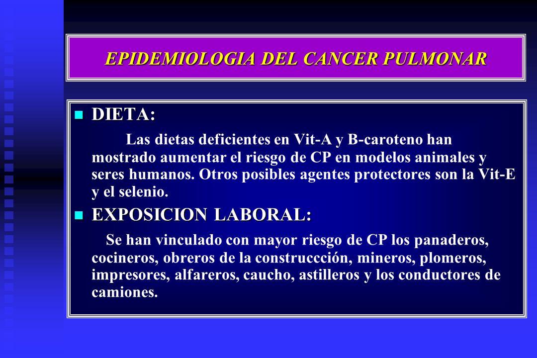 EPIDEMIOLOGIA DEL CANCER PULMONAR DIETA: DIETA: Las dietas deficientes en Vit-A y B-caroteno han mostrado aumentar el riesgo de CP en modelos animales