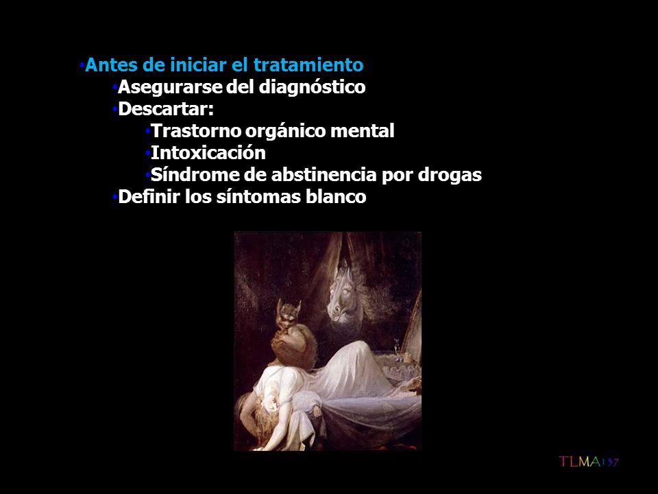 Antes de iniciar el tratamiento Asegurarse del diagnóstico Descartar: Trastorno orgánico mental Intoxicación Síndrome de abstinencia por drogas Defini
