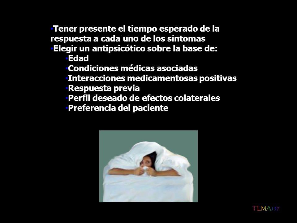 Tener presente el tiempo esperado de la respuesta a cada uno de los síntomas Elegir un antipsicótico sobre la base de: Edad Condiciones médicas asocia