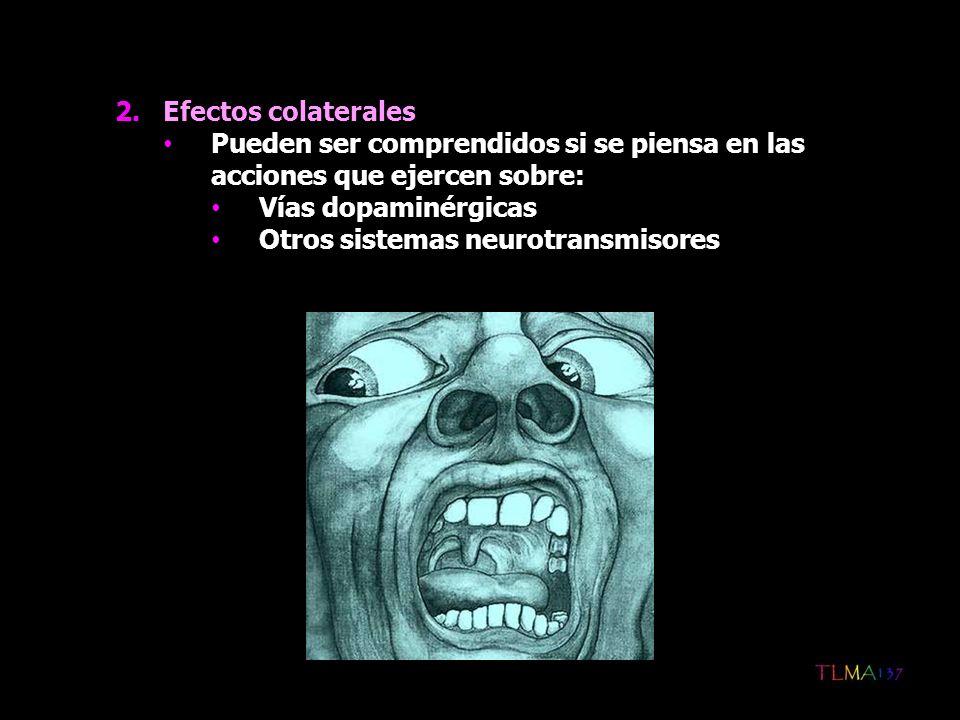 2.Efectos colaterales Pueden ser comprendidos si se piensa en las acciones que ejercen sobre: Vías dopaminérgicas Otros sistemas neurotransmisores