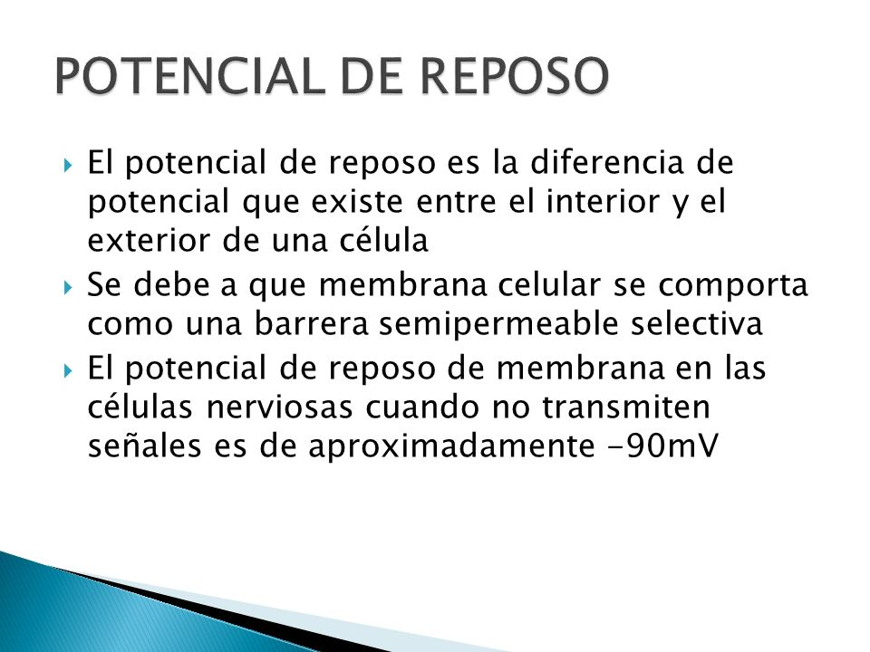 El potencial de reposo es la diferencia de potencial que existe entre el interior y el exterior de una célula Se debe a que membrana celular se compor