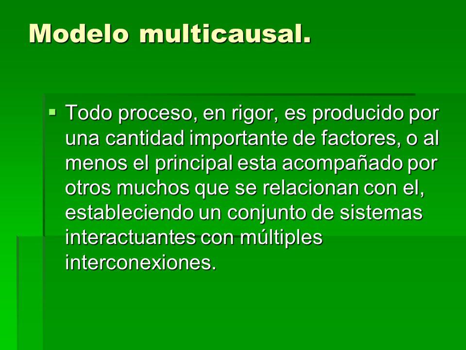 Modelo multicausal. Todo proceso, en rigor, es producido por una cantidad importante de factores, o al menos el principal esta acompañado por otros mu
