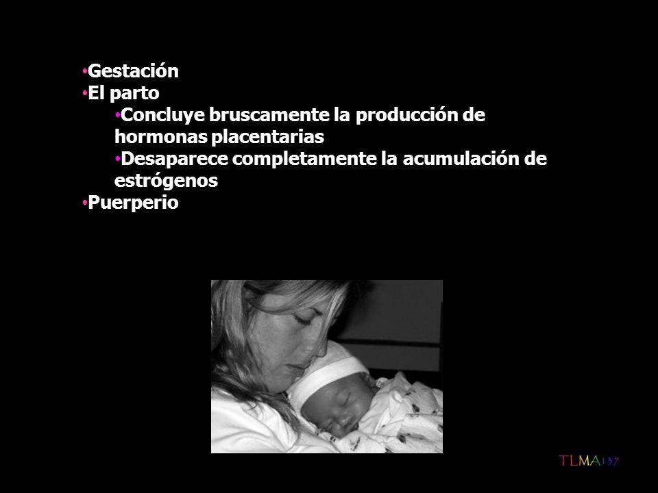 Suele aparecer en las 2-3 semanas siguientes al parto Aunque es un trastorno femenino, puede afectar al padre: Se siente desplazado Compite con su hijo por el amor y atención de la madre Pueden ser el resultado de alteraciones orgánicas o enfermedades médicas asociadas a sucesos perinatales