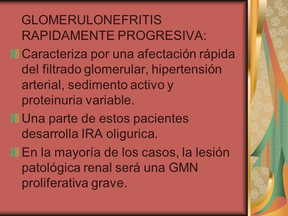 GLOMERULONEFRITIS RAPIDAMENTE PROGRESIVA: Caracteriza por una afectación rápida del filtrado glomerular, hipertensión arterial, sedimento activo y pro