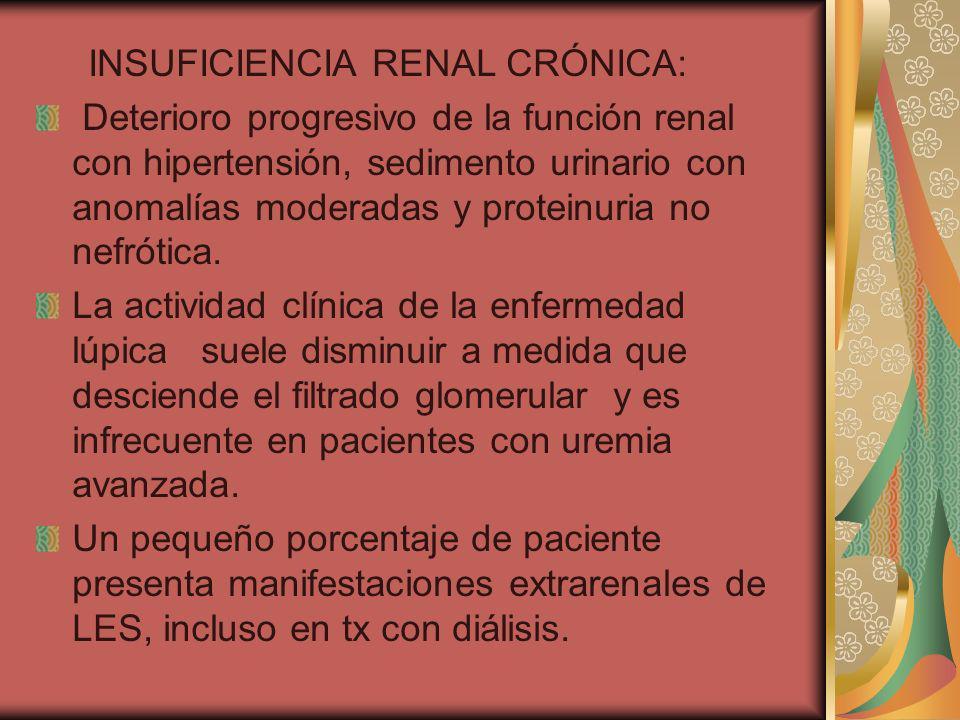 INSUFICIENCIA RENAL CRÓNICA: Deterioro progresivo de la función renal con hipertensión, sedimento urinario con anomalías moderadas y proteinuria no ne
