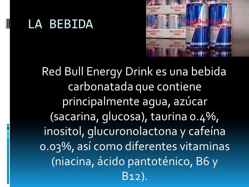 LA BEBIDA Red Bull Energy Drink es una bebida carbonatada que contiene principalmente agua, azúcar (sacarina, glucosa), taurina 0.4%, inositol, glucur