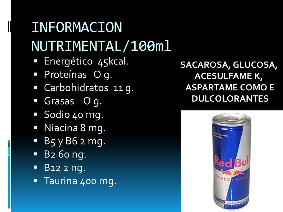 INFORMACION NUTRIMENTAL/100ml Energético 45kcal. Proteínas O g. Carbohidratos 11 g. Grasas O g. Sodio 40 mg. Niacina 8 mg. B5 y B6 2 mg. B2 60 ng. B12
