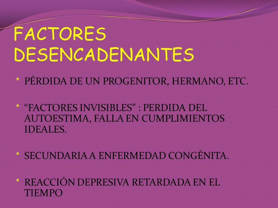 FACTORES DESENCADENANTES * PÉRDIDA DE UN PROGENITOR, HERMANO, ETC. * FACTORES INVISIBLES : PERDIDA DEL AUTOESTIMA, FALLA EN CUMPLIMIENTOS IDEALES. * S