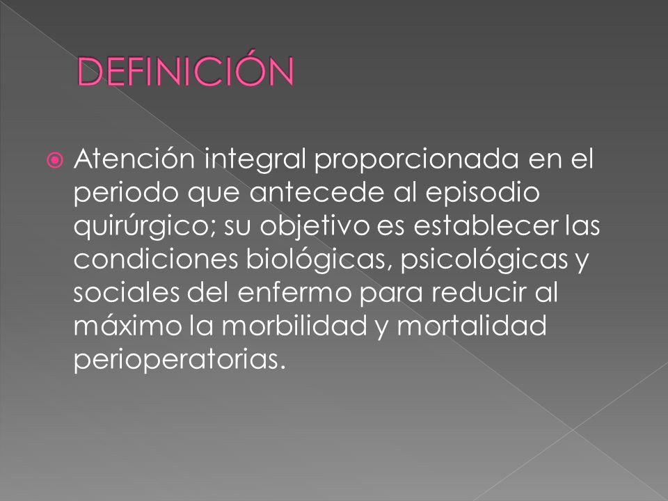 Atención integral proporcionada en el periodo que antecede al episodio quirúrgico; su objetivo es establecer las condiciones biológicas, psicológicas