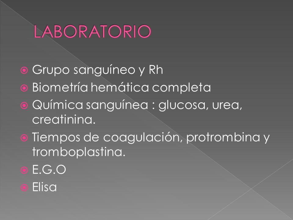 Grupo sanguíneo y Rh Biometría hemática completa Química sanguínea : glucosa, urea, creatinina. Tiempos de coagulación, protrombina y tromboplastina.