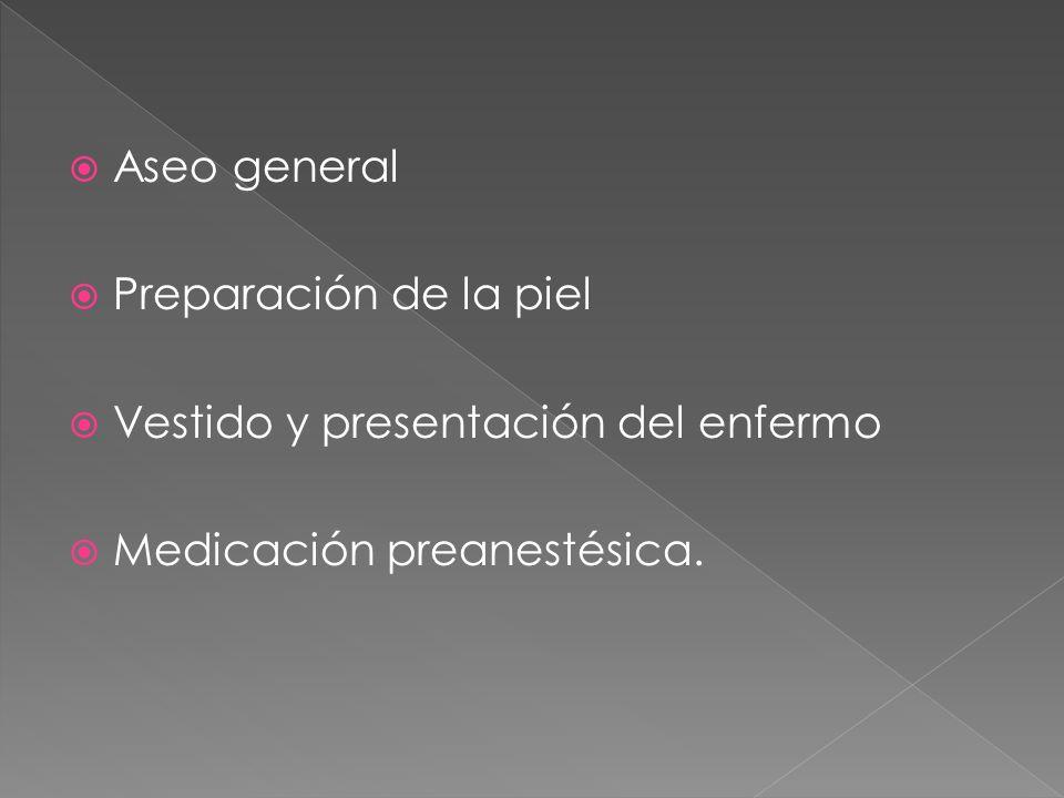 Aseo general Preparación de la piel Vestido y presentación del enfermo Medicación preanestésica.