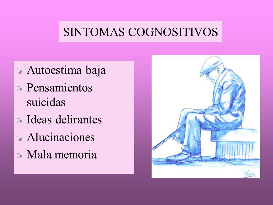 SINTOMAS COGNOSITIVOS Autoestima baja Pensamientos suicidas Ideas delirantes Alucinaciones Mala memoria