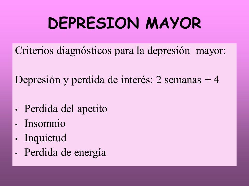 DEPRESION MAYOR Criterios diagnósticos para la depresión mayor: Depresión y perdida de interés: 2 semanas + 4 Perdida del apetito Insomnio Inquietud P