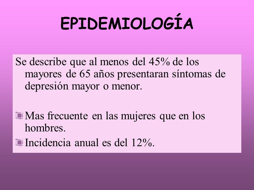 EPIDEMIOLOGÍA Se describe que al menos del 45% de los mayores de 65 años presentaran síntomas de depresión mayor o menor. Mas frecuente en las mujeres