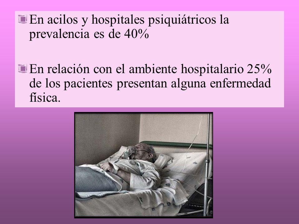 En acilos y hospitales psiquiátricos la prevalencia es de 40% En relación con el ambiente hospitalario 25% de los pacientes presentan alguna enfermeda