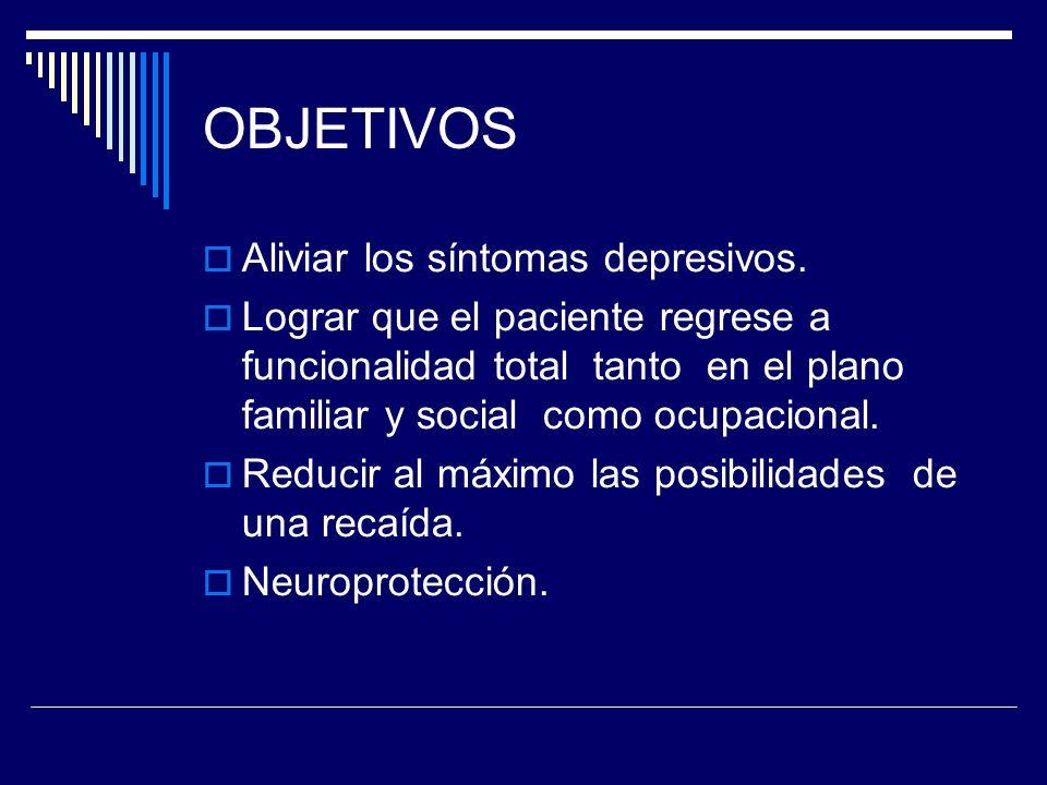 OBJETIVOS Aliviar los síntomas depresivos.