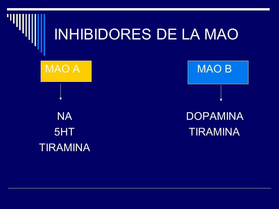INHIBIDORES DE LA MAO MAO A MAO B NA DOPAMINA 5HT TIRAMINA TIRAMINA