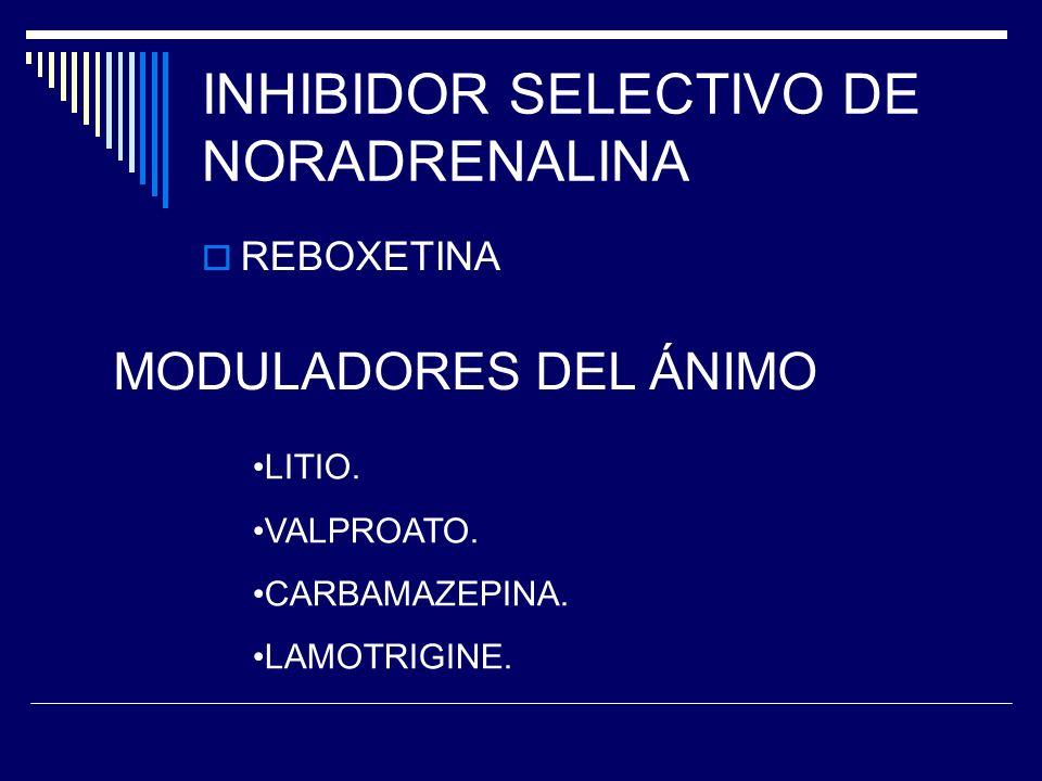INHIBIDOR SELECTIVO DE NORADRENALINA REBOXETINA MODULADORES DEL ÁNIMO LITIO.