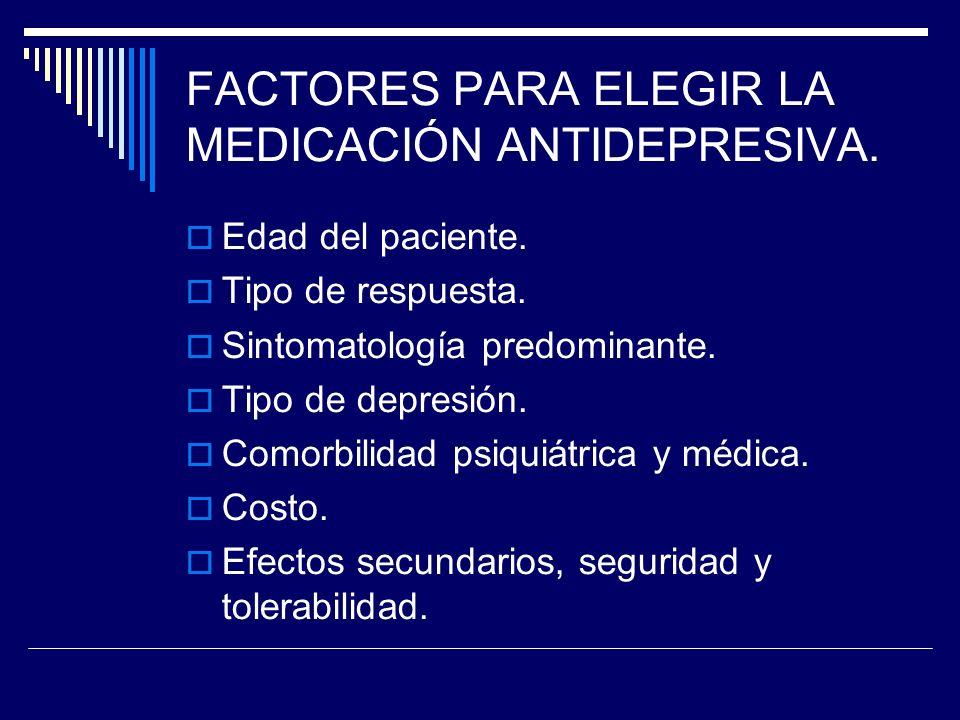FACTORES PARA ELEGIR LA MEDICACIÓN ANTIDEPRESIVA. Edad del paciente.