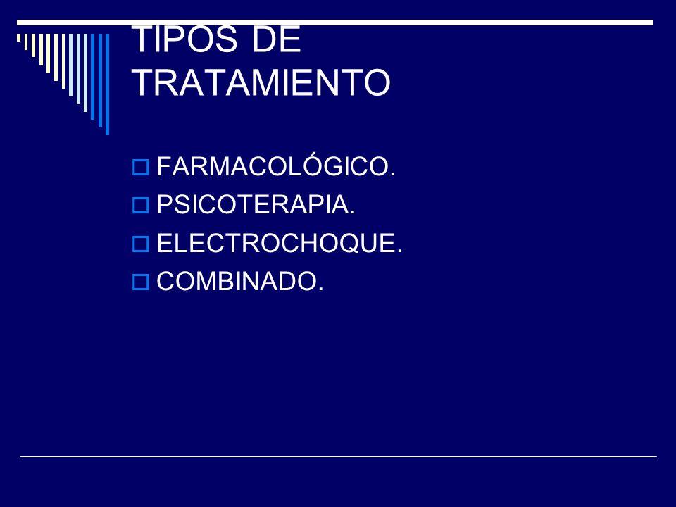 TIPOS DE TRATAMIENTO FARMACOLÓGICO. PSICOTERAPIA. ELECTROCHOQUE. COMBINADO.