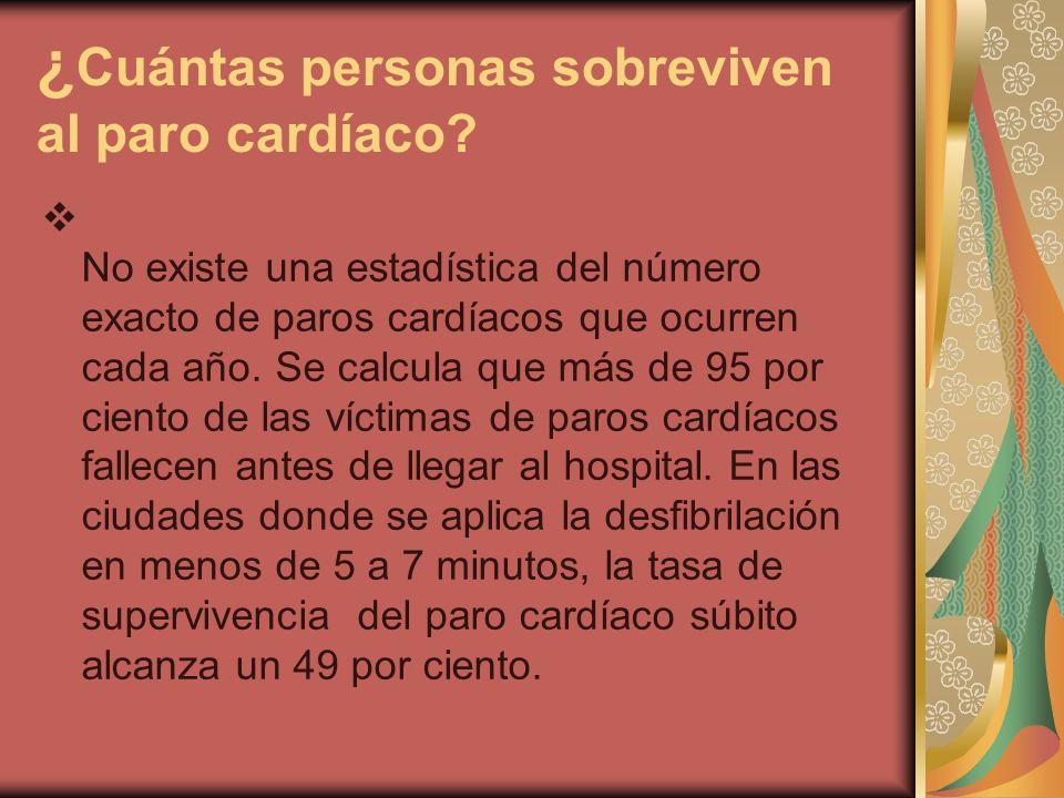 ¿ Cuántas personas sobreviven al paro cardíaco? No existe una estadística del número exacto de paros cardíacos que ocurren cada año. Se calcula que má