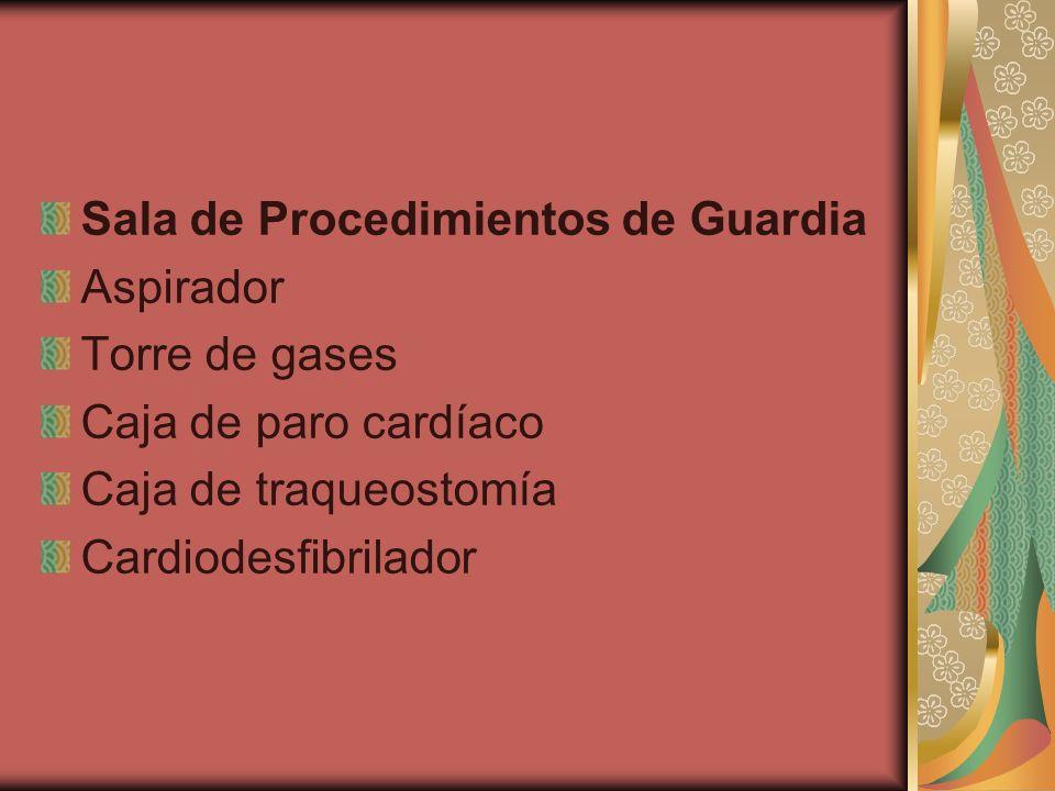 Sala de Procedimientos de Guardia Aspirador Torre de gases Caja de paro cardíaco Caja de traqueostomía Cardiodesfibrilador