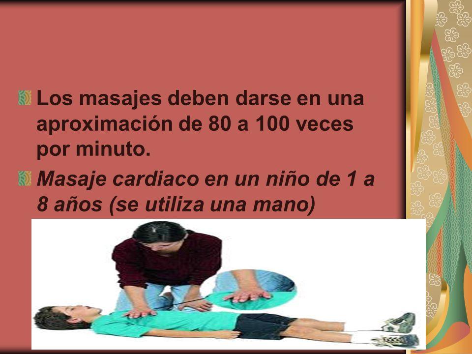 Los masajes deben darse en una aproximación de 80 a 100 veces por minuto. Masaje cardiaco en un niño de 1 a 8 años (se utiliza una mano)