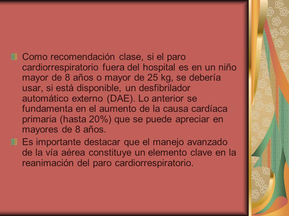 Como recomendación clase, si el paro cardiorrespiratorio fuera del hospital es en un niño mayor de 8 años o mayor de 25 kg, se debería usar, si está d