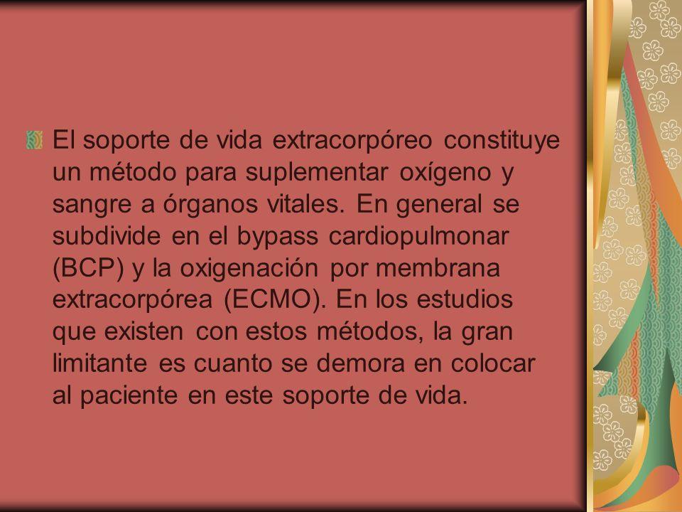El soporte de vida extracorpóreo constituye un método para suplementar oxígeno y sangre a órganos vitales. En general se subdivide en el bypass cardio